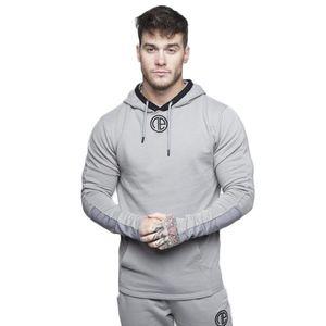 Hommes Salles de sport à capuche Fitness Bodybuilding à manches longues Sweats à capuche homme solide Sling Sweat-shirt Homme Survêtement Coton sport Workout Shirt