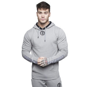 Mens Gyms Hoodie Fitness Bodybuilding Langarm Hoodies Männer Solide Sling Sweatshirt Men Trainingsanzug Cotton Workout Sport Hemd