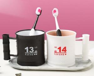 Pares de la taza del cepillo de dientes taza fijadas dental del diente lindo ins dormitorio femenino de los estudios viento de lavado cepillado taza de enjuague bucal