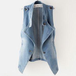 2018 summmer fashion Vintage Denim Vest Women's Sleeveless Jeans tank tops Plus Size 2XL
