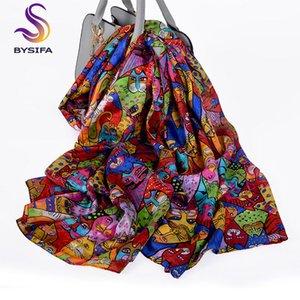 [BYSIFA] bufanda de seda Real 2019 gatos de dibujos animados diseño Foulard mujer bufandas largas primavera otoño señoras Hijab bufandas verano playa