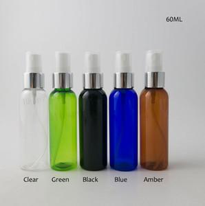 100 x 60 ml Claro Verde Negro Azul Ámbar PET botellas de plástico atomizador del perfume aerosol de la niebla 2 oz botella de PET Cosmética Perfume pulverizador