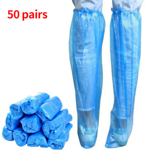 50pairs PE Water Knee High Disable Shoe Cover Universal Boots Anti Slip Long Overshoe Protective Himing Outdoor تخييم