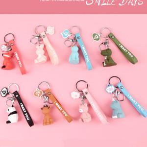 Cartoon-Dinosaurier Geometrische Ausschnitt Keychain Tier-Anhänger-Mädchen-Tasche Ornament Schlüsselanhänger Kreative kleines Geschenk für Auto-Handy 10 Arten