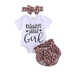 Summer Baby Children Outfits 2020 New Short Sleeve Letter Bodysuit Romper + Leopard Print Shorts + Headband 2Pcs Outfit