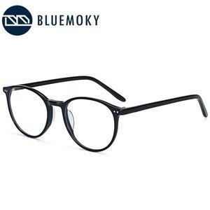 BLUEMOKY Retro gafas redondas marco mujeres miopía óptica lente transparente gafas acetato transparente gafas
