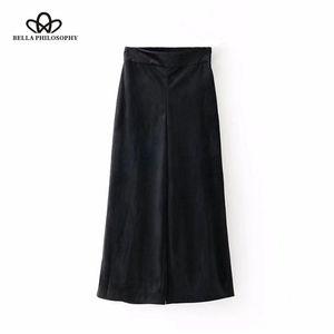 Bella Philosophy 2018 donne allentate pantaloni gamba larga velluto nero solido pantaloni al polpaccio vintage moda impero gamba larga