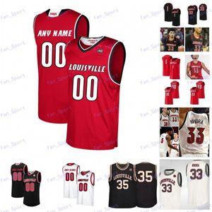 Özel Louisville Kardinal 2020 Basketbol Herhangi bir Ad Numarası Siyah Kırmızı Beyaz Krem # 33 Nwora 23 Steven Enoch Griffith Erkekler Gençlik Çocuk Forması