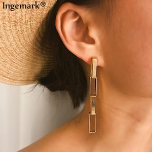 Ingemark Fashion Four Loop Drop Earrings Statement Women Vintage Rectangle Geometric Long Tassel Earrings Brincos Jewelry Gift