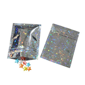 Resealable Smell Proof Bags Foil Pouch Bag Flat mylar Bag for Party Favor Food Storage Holographic Color with glitter star