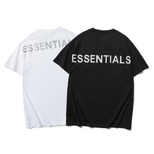 Luva das mulheres dos homens T-shirt Essentials Reflective Short Round Neck Moda Sólidos Tamanho FOG T-shirt asiático S-XL