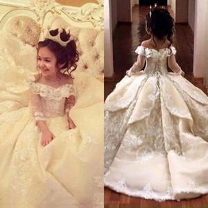 De luxe vintage en dentelle Appliqued Pageant robes à manches longues robe de bal robe de demoiselle d'épaule Robes Off Kid First Communion