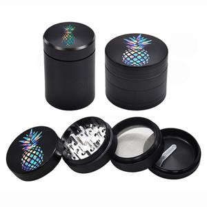 Amoladora de piña Rainbow 50 mm 1.96 pulgadas Hierba Trituradora de especias Amoladoras de aleación de aluminio 4 piezas Esmeriladoras con o sin almacenamiento de metal