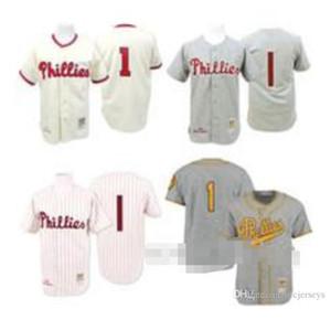 Crème 1948 Gris 1950 rejettera Richie Ashburn Jersey, # 1 Mitchell et Ness Baseball Phillies de Philadelphie amour Jersey hommes