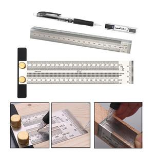 Travail du bois 180-400mm Scribe type T Règle trou Traçage règle barrée d'une croix outil de ligne de dessin marquage jauge de mesure Outils de bricolage
