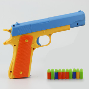 어린이 장난감 시뮬레이션 소프트 총알 총 수동 짧은 총 색상 총알 저격 소총 부모 - 아이 야외 스포츠 역할 재생