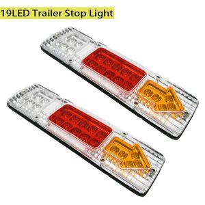 2pcs 12V 19 LED автомобилей Грузовой автомобиль Прицеп Хвост Стоп Обратный указатель поворота Стрелка Лампа Грузовик сигнала Включение лампы