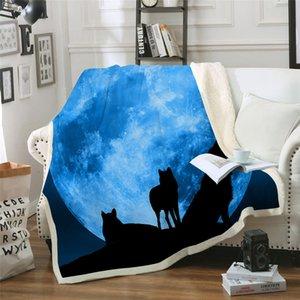 Moon Wolves 3d Sherpa Couverture Couch Couverture Voyage Jeunes Literie Outlet Velours En Peluche Jeter Couverture En Polaire Couvre-Lit Nouveau