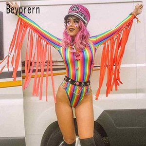 Beyprern Womens Goddess Tassle Fringe Bodysuit Fashion Long Sleeve Rainbows Striped Short Jumpsuit Festival Outfits Rave Wears Y200701