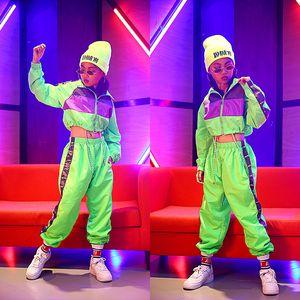 Hip-Hop-Tanz-Tragen von Kindern Jazz Modern Tanzkostüme Fluoreszenzkleidung Anzüge Kinder Bühnenkostüme Outfits DQS2135