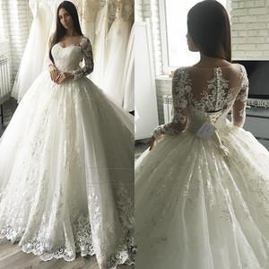 Robe de mariée princesse robe de mariée 2019 encolure de l'illusion décolleté à manches longues robe de mariée robe de mariée robes de mariée