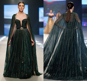2020 Verde árabe Aso Ebi Luxurious Escuro Vestidos frisado lantejoulas Prom Dresses Sexy formal do partido Segundo Vestidos Recepção