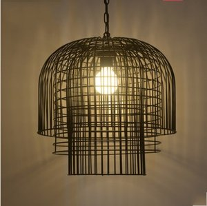 jaulas de hierro retro luces colgantes Loft dormitorio linterna comedor industrial vivir Lámparas colgantes o creativa LLFA