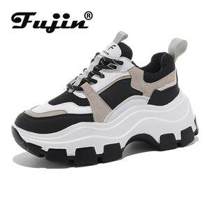 Fujin las zapatillas de deporte de las mujeres del resorte Dropshipping inferior grueso zapatos de papá inferior grueso del dedo del pie redondo de respiración libre zapatos de las mujeres