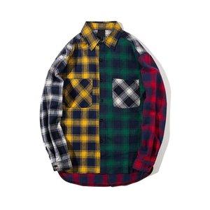 Personalità versione coreana del trend di Color Matching flanella della camicia degli uomini Slim Fit plaid camice casuali di Hip Hop lunga allentata Slee