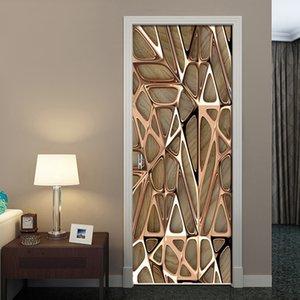 2PCS / 세트 로즈 골드 기하학적 패턴 3D 벽 도어 스티커 자체 접착 방수 벽지 데칼 홈 인테리어 문 벽 스티커 T200331