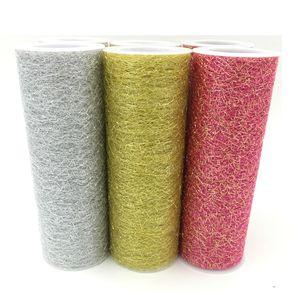 6inch * 5Y Gold Silver Organza Tulle Roll Spool Fabric Ribbon DIY Tutu Skirt Gift Craft Party Chair Sash Wedding Party Decoration