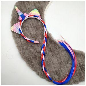 Unicorn Horn Bantlar Glitter Kulaklar Çocuk Kız Gökkuşağı Renkli at kuyruğu Prenses Örgü Peruk hairbands Saç Aksesuarları 0106