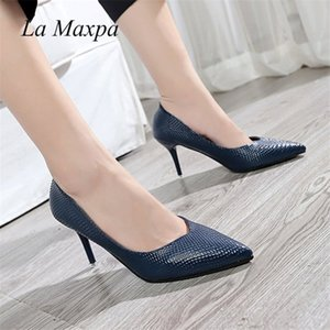La MaxPa Classic Brand Women Pumps Pointed Toes Dress Shoes,Designers Nude Snake Skin High Wedding Party Female Shoes 8cm