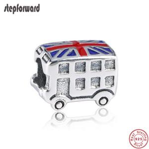 Pulsera apta de calidad superior del encanto del autobús de la bandera del Reino Unido de la plata verdadera del esmalte 925 de la nueva llegada