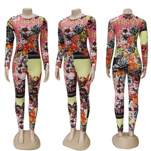 Nouveau Femmes Tenues Casual manches longues ras du cou imprimé floral Tight barboteuses Fashion Slim long Salopette Club Wear Vêtements surdimensionnée S-2XL