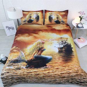 Sirena edredón Orange muchachas de los cabritos del mar del océano edredón de la cama cubierta de 3 piezas Galaxy lecho con 2 Almohada Colcha Colcha Shams