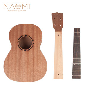 NAOMI DIY Ukulele 26in Ukelele Hawaii Guitar DIY Kit Sapele Wood Body Rosewood Fingerboard Ukulele Parts Accessories New