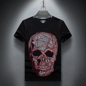 Januarysnow Moda Tasarımcısı Yaz Üst Mens Kafatasları Rhinestones T Gömlek Modal Pamuk O Yaka Kısa Kollu İnce Tee Gömlek Ücretsiz Kargo
