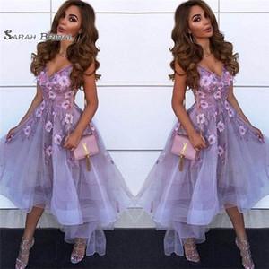 V Neck Tulle A Line Abiti Homecoming Arabian Lace Applique High Low Princess Short Prom Abiti da festa