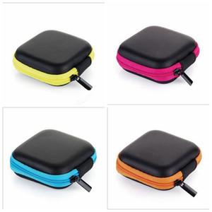 Case casque en cuir PU Oreillettes poche Mini Zipper écouteurs Boîte de protection Gyro boîte Fingertip écouteurs Sac de rangement Eva Sac Ecouteur CFYZ76Q