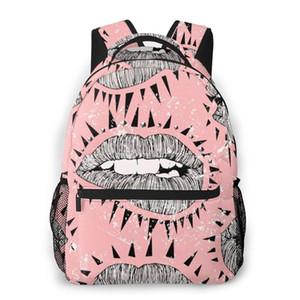 2020 OLN Sac à dos Sac bandoulière femme Punk lèvres Tracts Affiches avec Spikes sac d'école pour Teenage Girl Sacs à dos Voyage