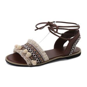 35-39 Gladiator Sandals Women 2018 Summer Flat Shoes Casual Bohemia Ladies Sandals Back Srtap Tassel Shoes
