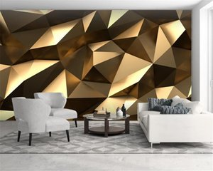 Custom Luxury Golden 3d Wallpaper Golden Low Polygon Abstract Space 3d Background Wall HD Digital Printing Wall paper