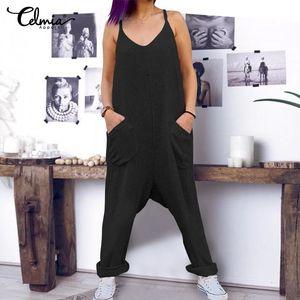 Plus Size Salopette celmia Vintage Women Drop-Crotch été 2019 manches Jumpsuits Barboteuses coton lin Pantalons simple Combinaisons