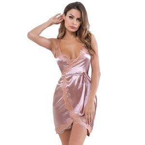 2020 Summer Nouveau Femmes Sling Sexy dentelle rose manches Accueil Dormant Jupe Dentelle Bow Jupe mi-longue Lingerie Sexy Sling Blazers