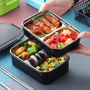 FREE Shipping 304 Stainless Steel Lunch Box For Kid New Two-layers Bento Box For Student Food Container With Tableware Lunch Bag Kitchen
