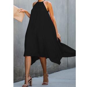 INS Orta Boy aşırı-Diz Adına Katı Renk Turtleneck Kolsuz Gevşek-Fit Düzensiz Skirt Elbise Kadın Yeni Avrupa Versiyon