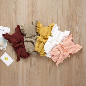 Meninas do bebê maciço macacão Algodão Sleeve Sleeve Single Breasted Strap Jumpsuit Crianças Roupas Girls Girls 0-3T 04