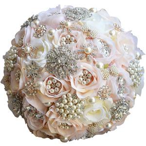 Ronde fard à joues mariage Bouquet décoratif Fleurs Teardrop Papillon Bouquet Alternative Brooches Cascading cristal rose Fleurs de mariage