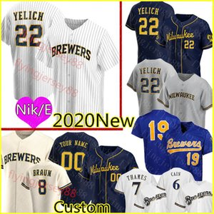22 Christian Yelich 2020 personnalisé Jersey Hommes Ryan Braun Robin Yount Lorenzo Cain Eric Thames Travis Shaw Jonathan Lucroy Baseball